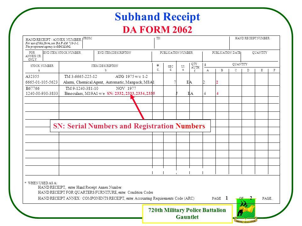 Subhand Receipt DA FORM 2062