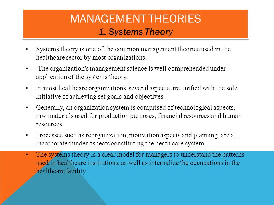 systems theory in healthcare organizations