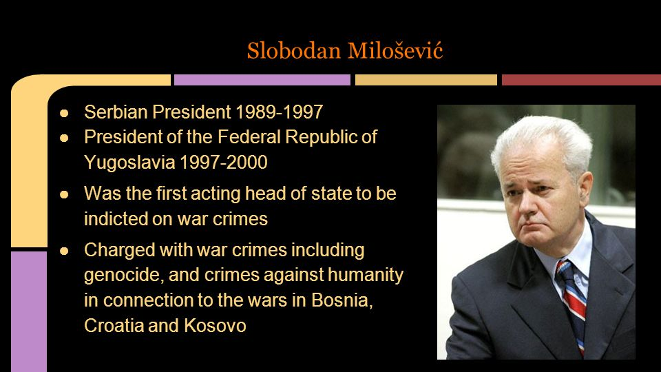 Image result for yugoslav president charged with war crimes kosovo