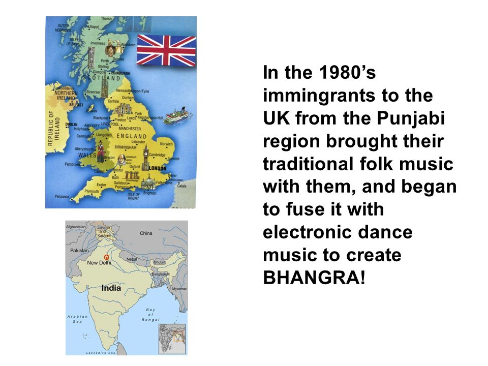 In the 1980's immingrants to the UK from the Punjabi region brought their traditional folk music with them, and began to fuse it with electronic dance music to create BHANGRA!