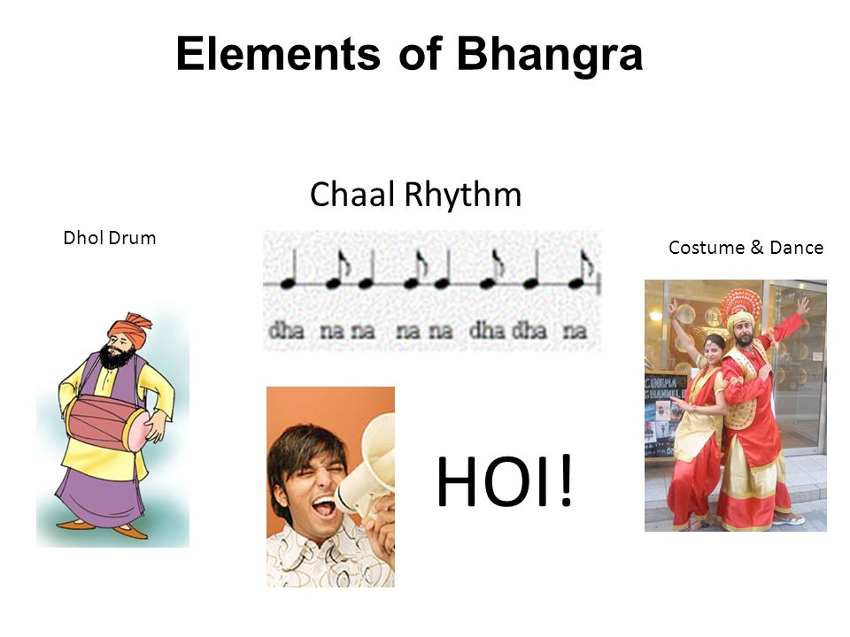 Elements of Bhangra Chaal Rhythm Dhol Drum Costume & Dance HOI!