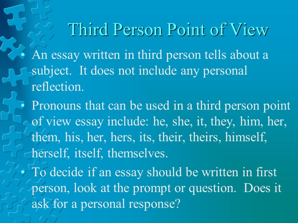 Sample Essay Paper Third Person Point Of View English Reflective Essay Example also The Yellow Wallpaper Essays Point Of View Revision Review  Ppt Video Online Download Proposal Essay Topic Ideas