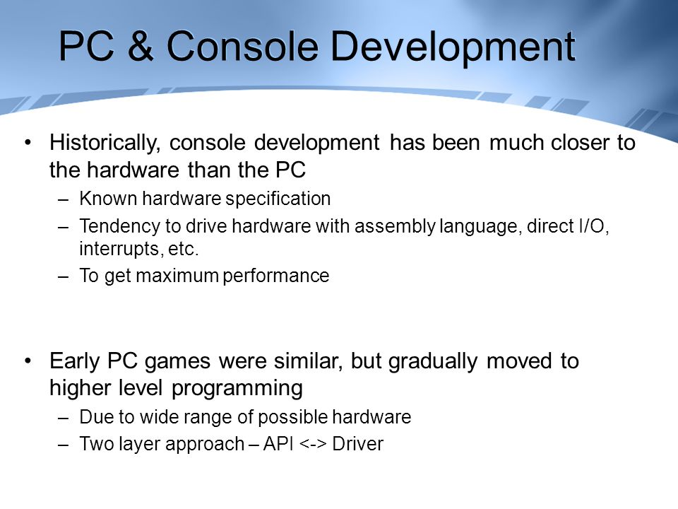Maths & Technologies for Games Console Development & Middleware ...
