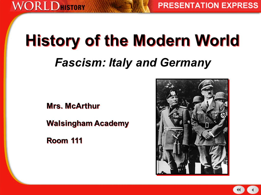 a history of fascism in germany and italy The russian revolution (1917), the collapse of the central powers in 1918, and the disorders caused by communist attempts to seize power in germany, italy, hungary, and other countries greatly strengthened fascism's appeal to many sections of the european populace.