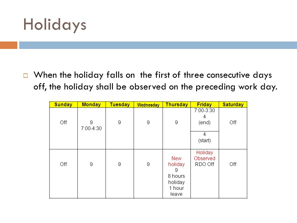 ee02bd7198 Holidays When the holiday falls on the first of three consecutive days off