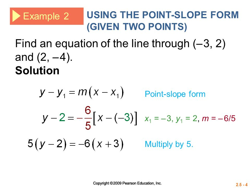 point slope form from two points  Point-Slope Form The line with slope m passing through the ...