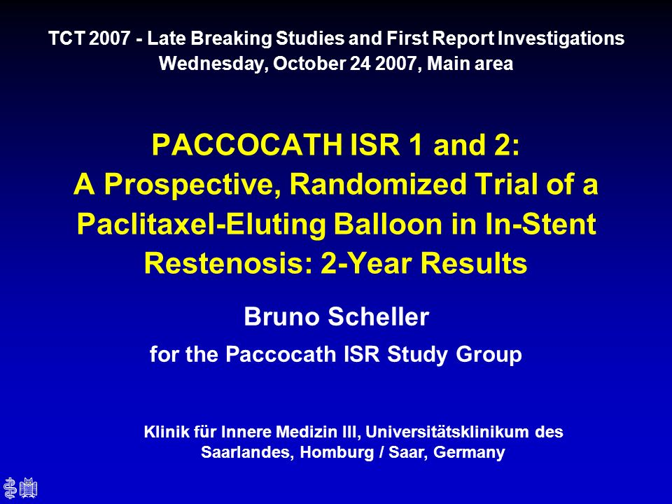 Bruno Scheller for the Paccocath ISR Study Group