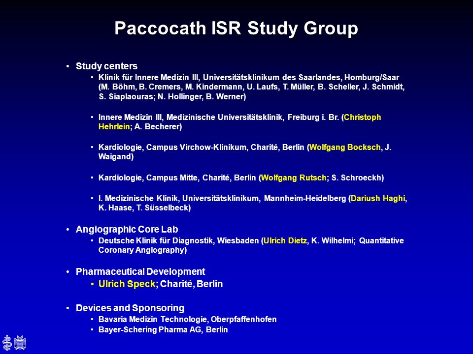 Paccocath ISR Study Group