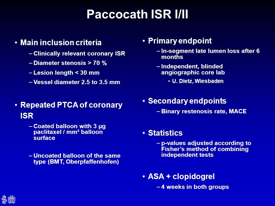 Paccocath ISR I/II Primary endpoint Main inclusion criteria