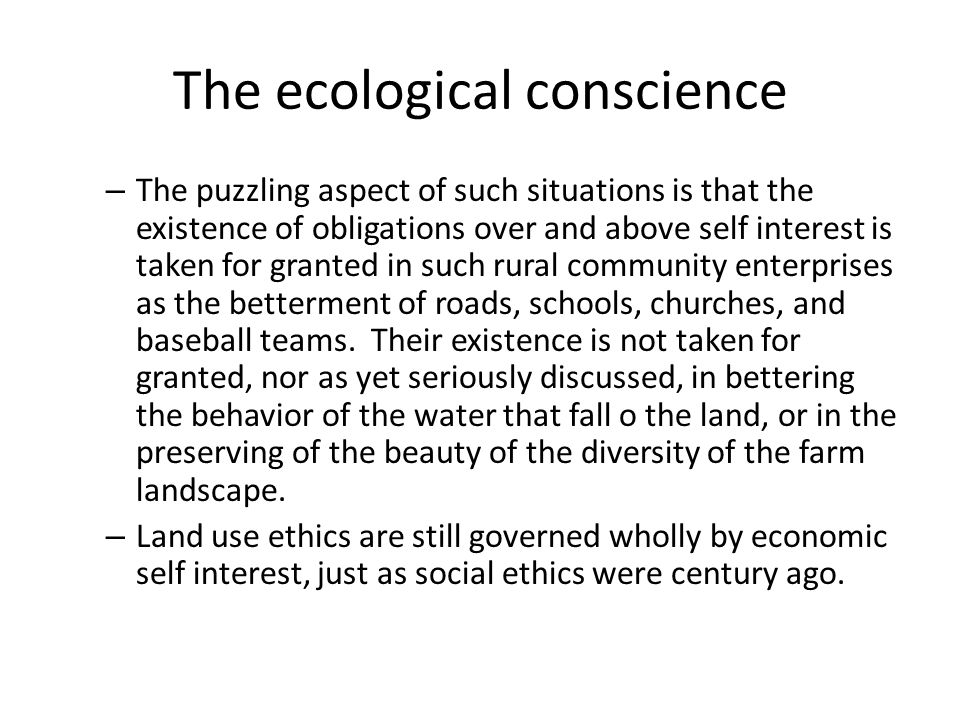 what is ecological conscience