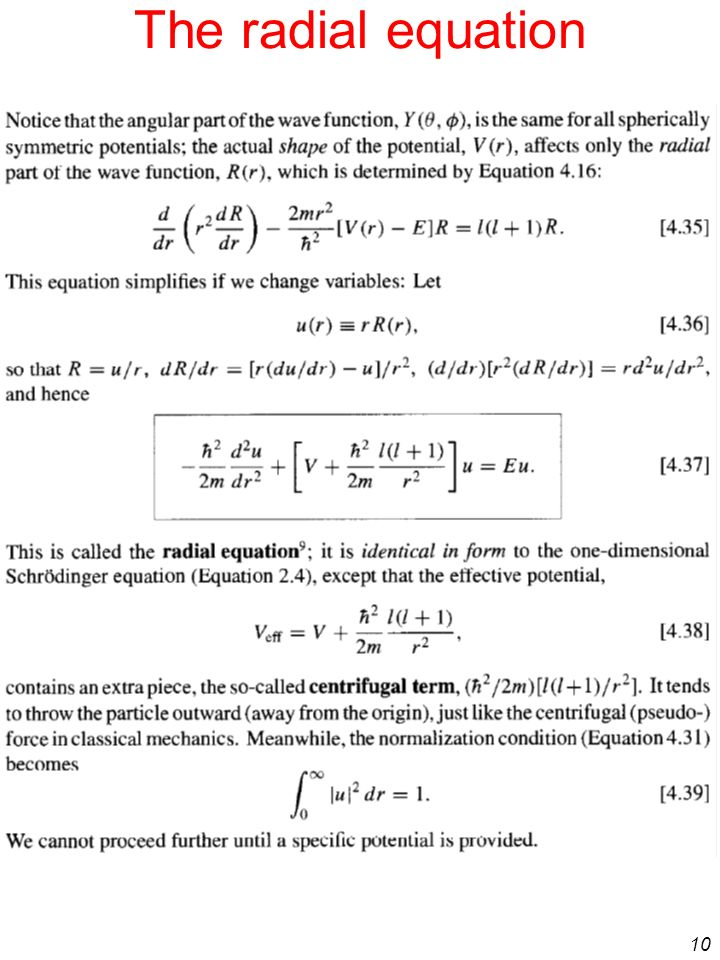 The radial equation