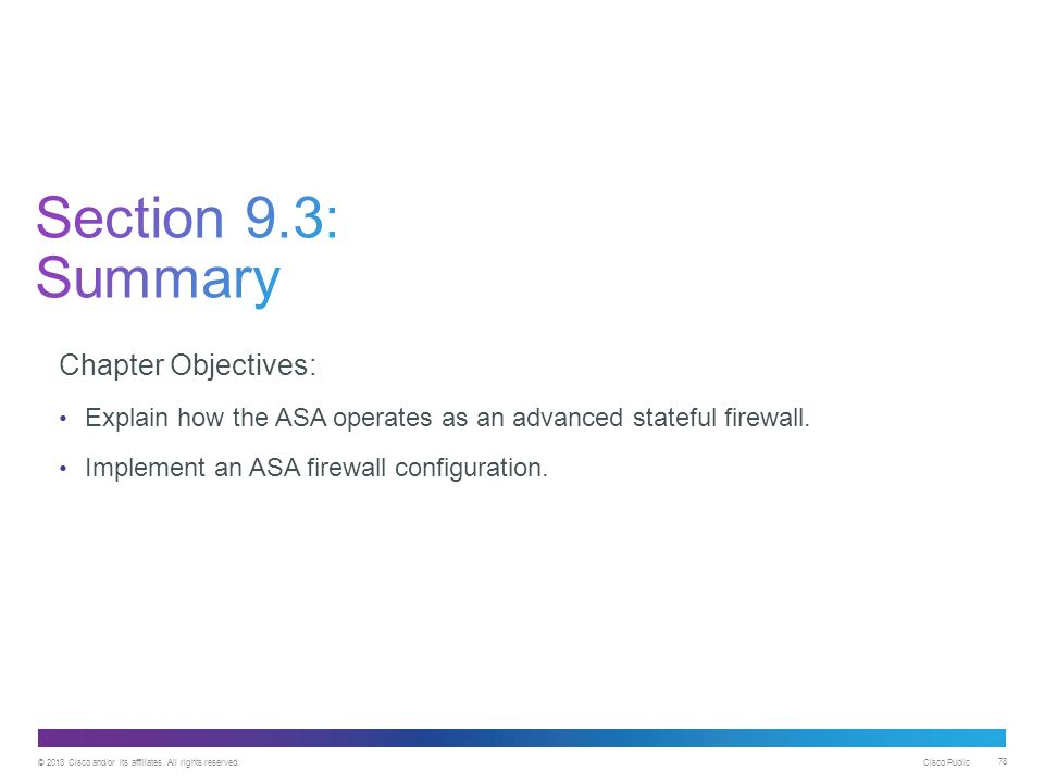 Chapter 9: Implementing the Cisco Adaptive Security