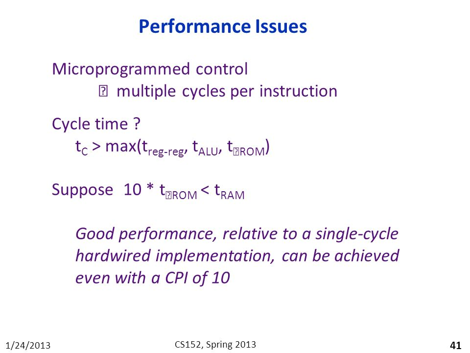 Performance Issues Microprogrammed control