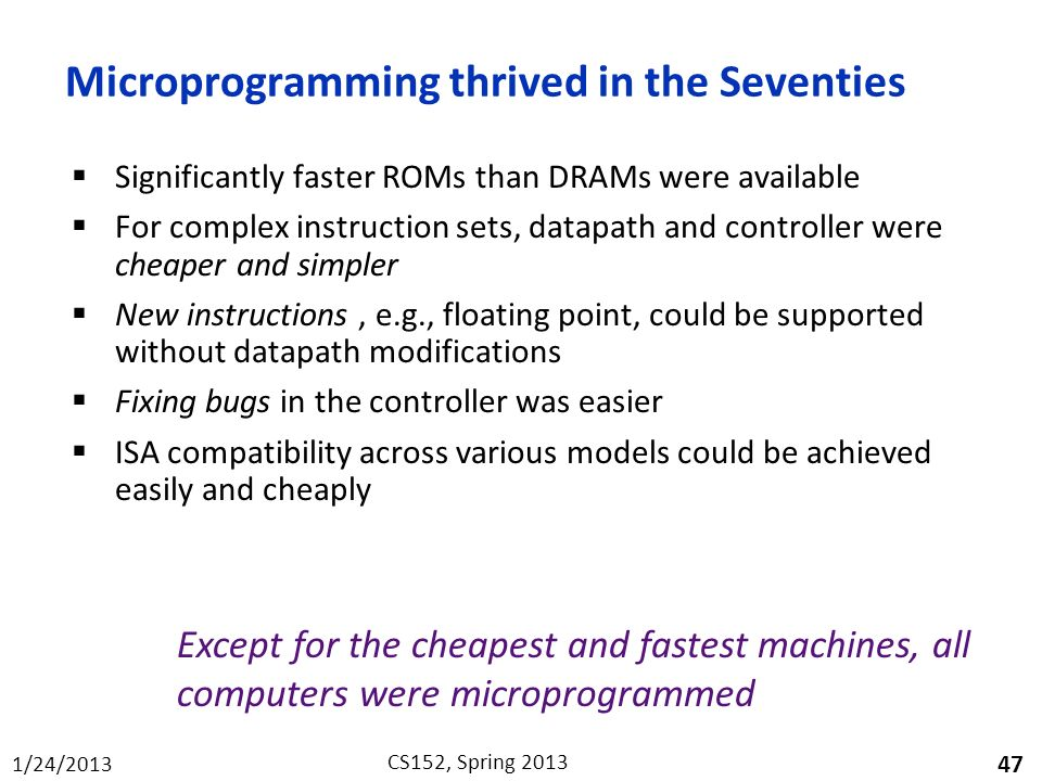 Microprogramming thrived in the Seventies