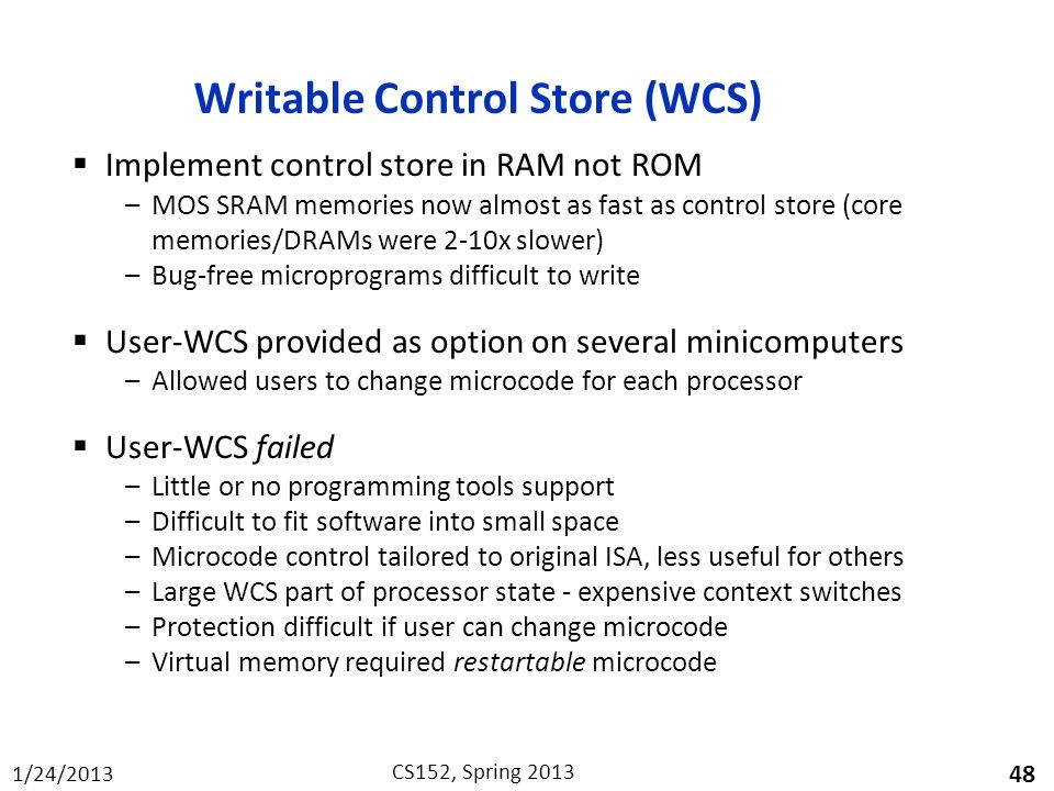 Writable Control Store (WCS)