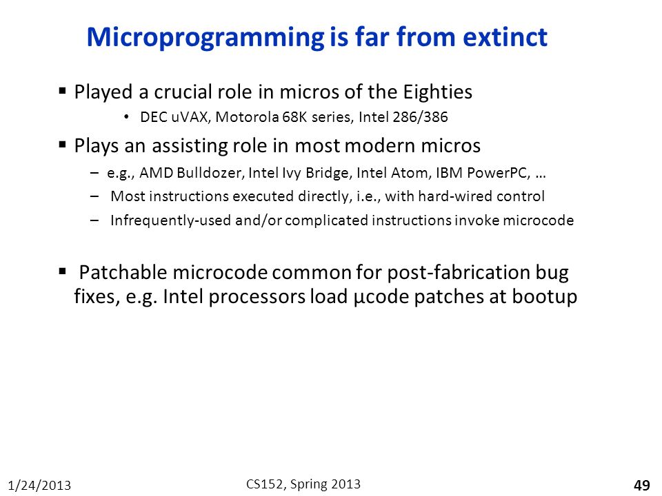 Microprogramming is far from extinct