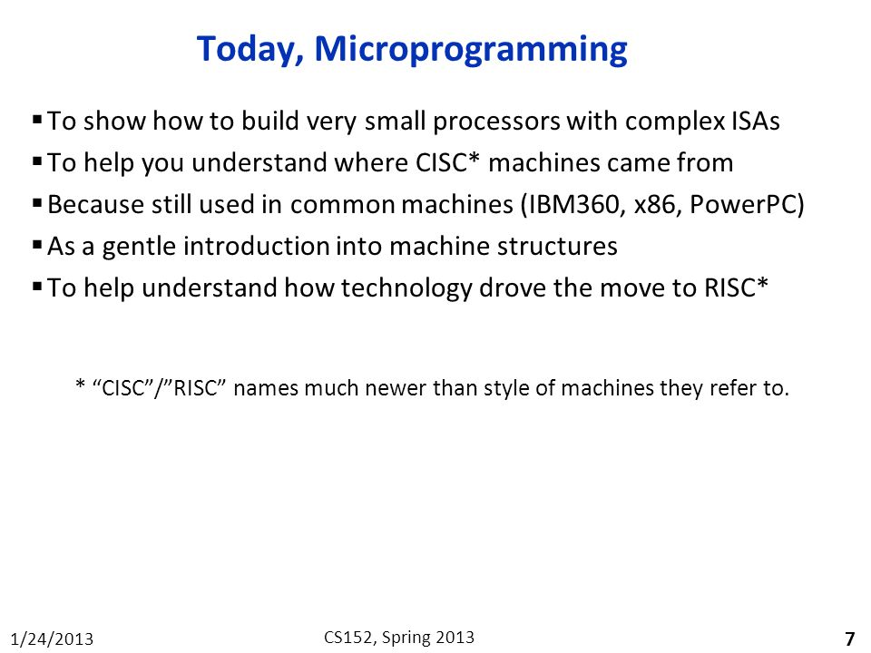 Today, Microprogramming