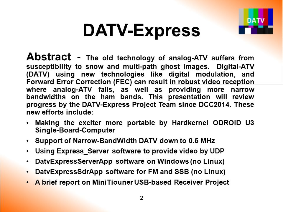 2015 ARRL/TAPR DCC Update on DATV-Express exciter for