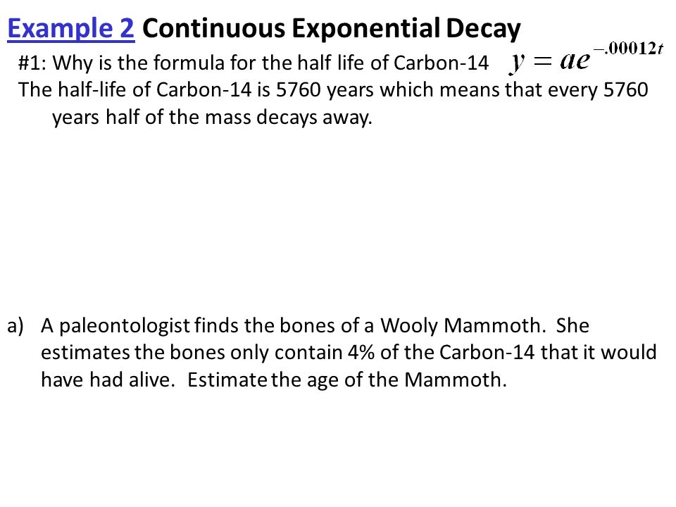 exponential decay model for carbon-14
