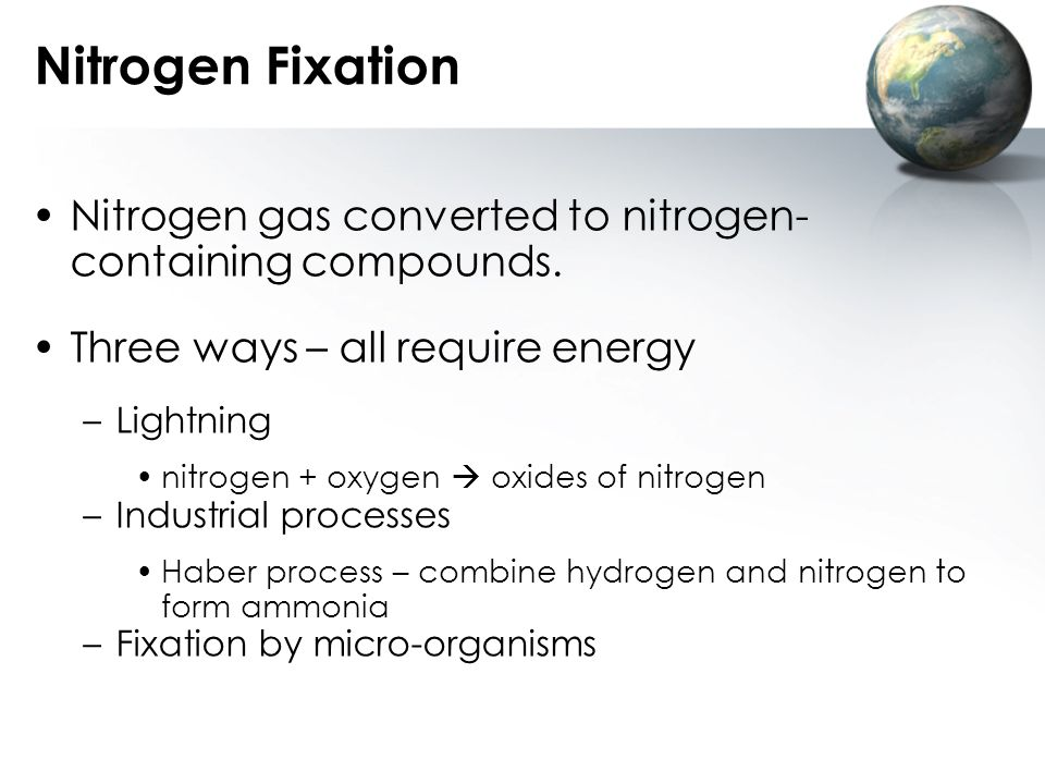 Nitrogen Fixation Nitrogen gas converted to nitrogen- containing compounds. Three ways – all require energy.