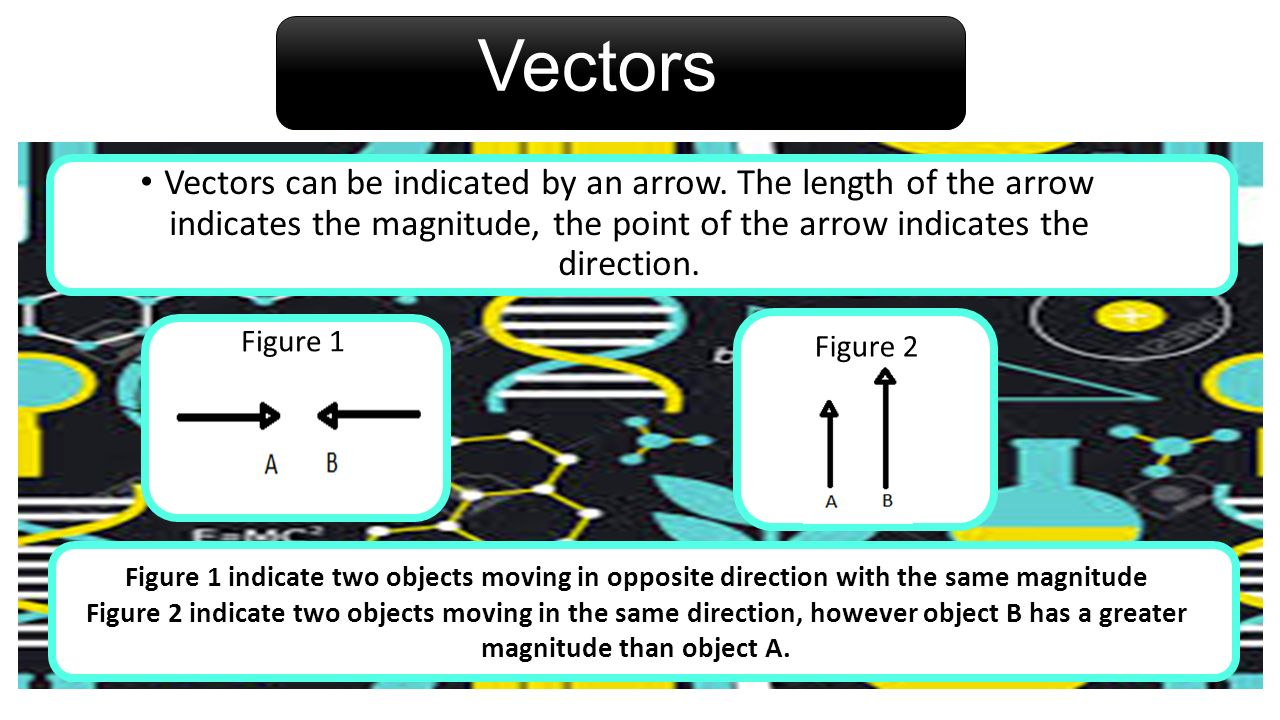 Vectors Vectors can be indicated by an arrow. The length of the arrow indicates the magnitude, the point of the arrow indicates the direction.