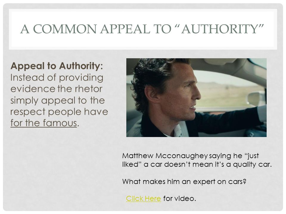 What are some appeal to authority fallacy examples in media?