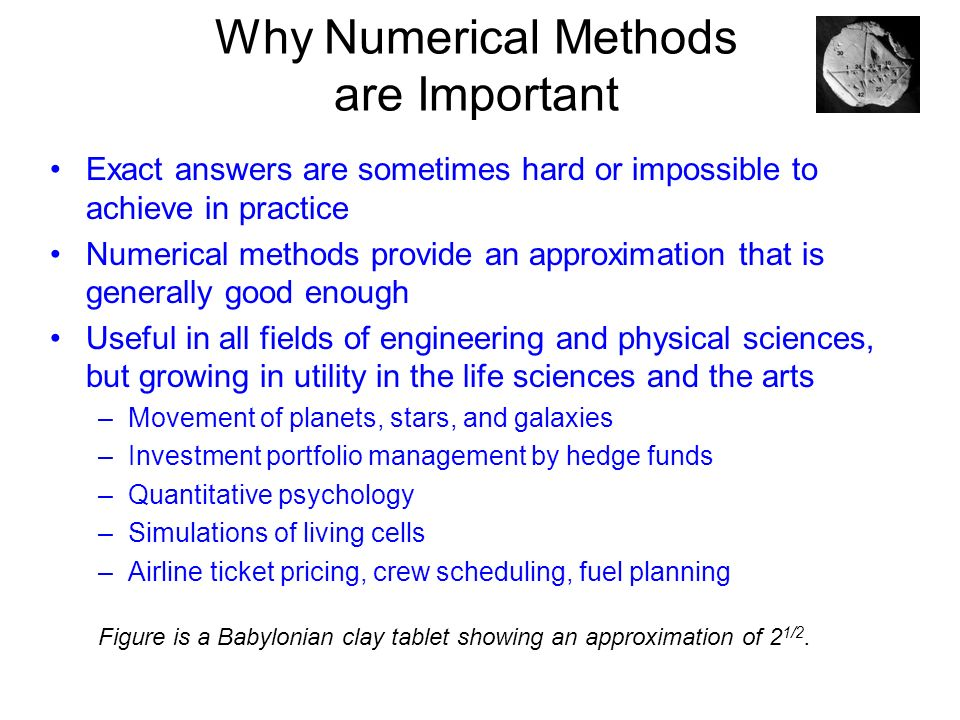 topics covered Numerical Analysis Examples - applications - ppt download