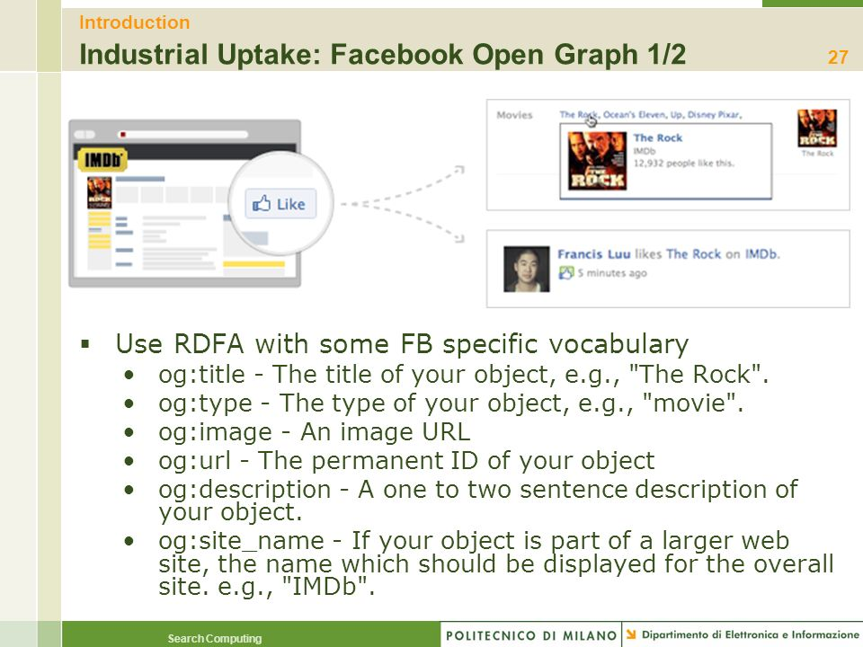 Introduction Industrial Uptake: Facebook Open Graph 1/2