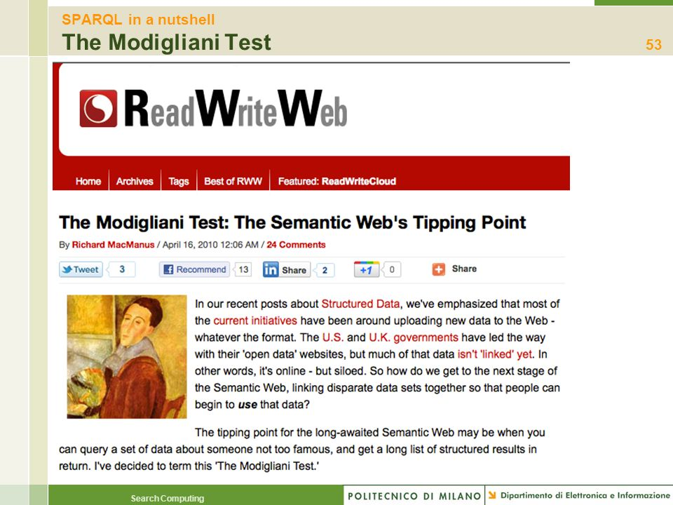SPARQL in a nutshell The Modigliani Test