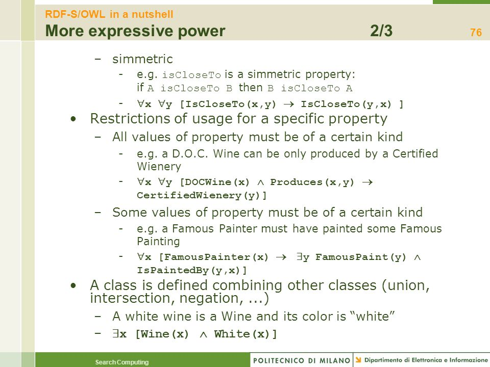 RDF-S/OWL in a nutshell More expressive power 2/3
