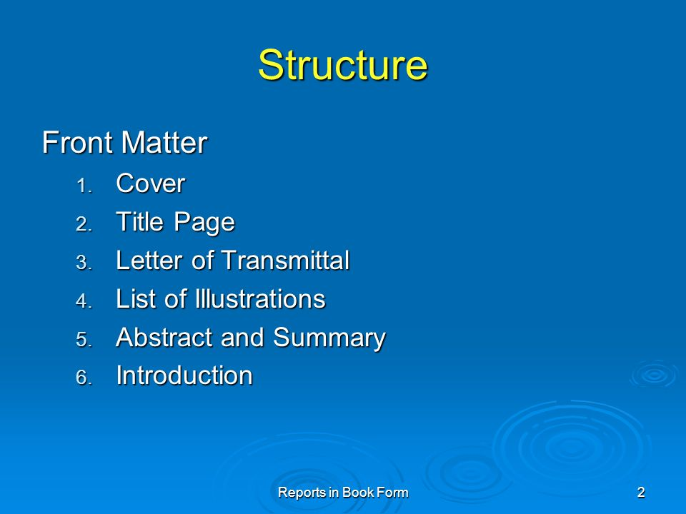 structure front matter cover title page letter of transmittal