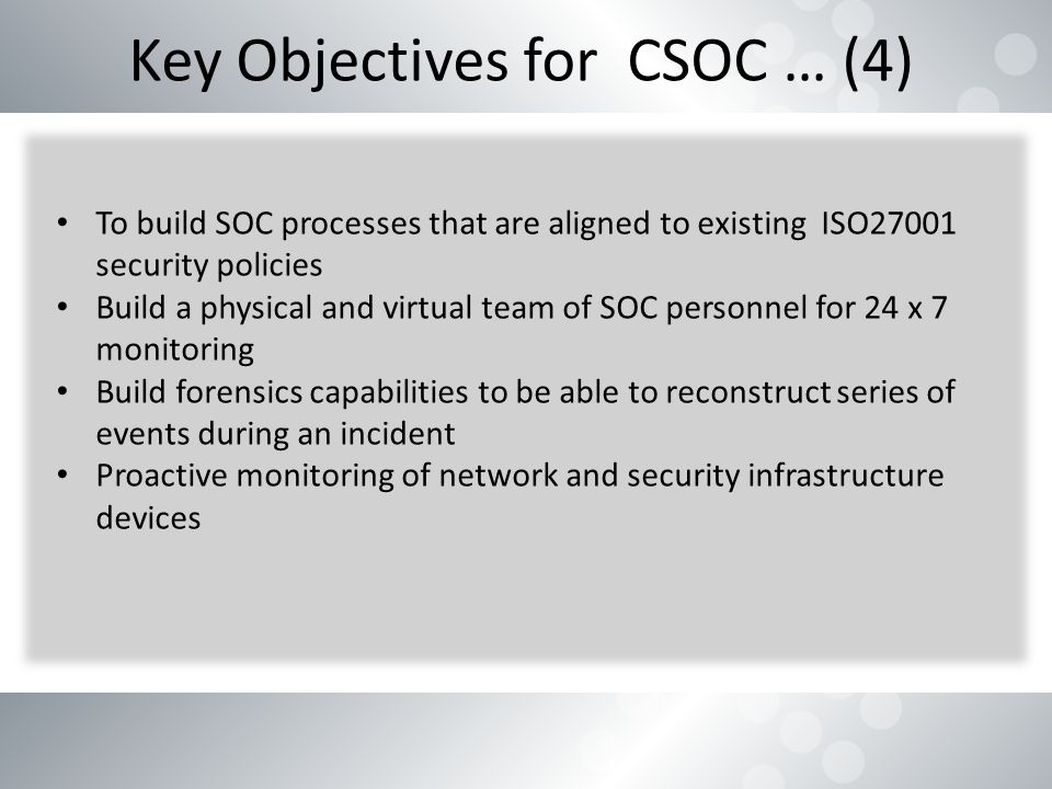 Building a Cyber Security Operations Center (CSOC) - ppt