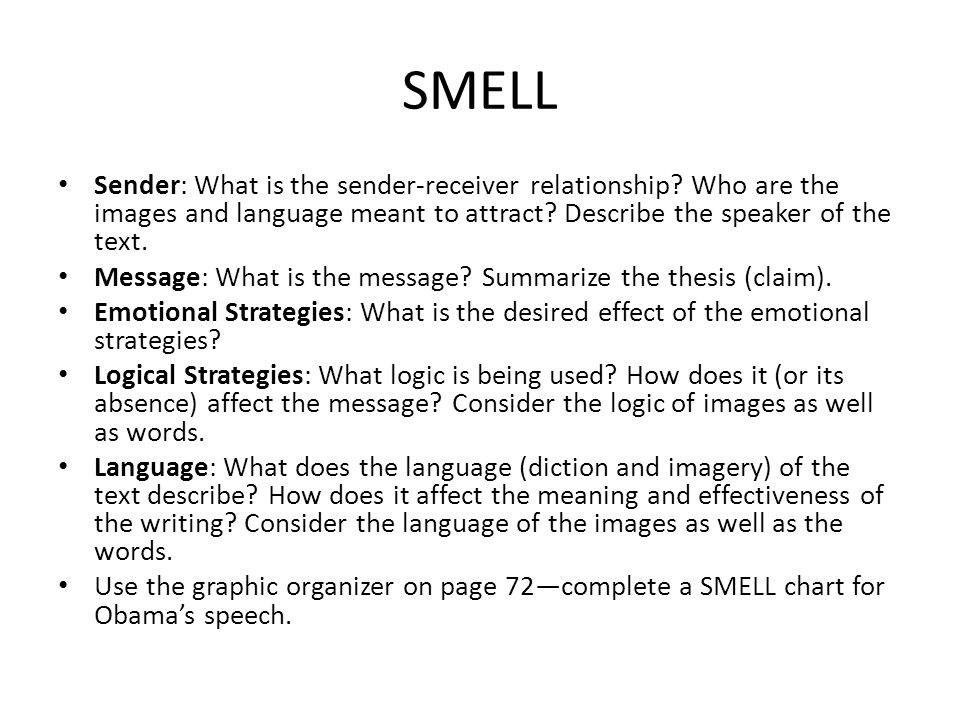 smells essay To write a narrative essay, you'll need to tell a story (usually about something that happened to you) in such a way that he audience learns a lesson or gains insight to write a descriptive essay, you'll need to describe a person, object, or event so vividly that the reader feels like he/she could reach out and touch it.