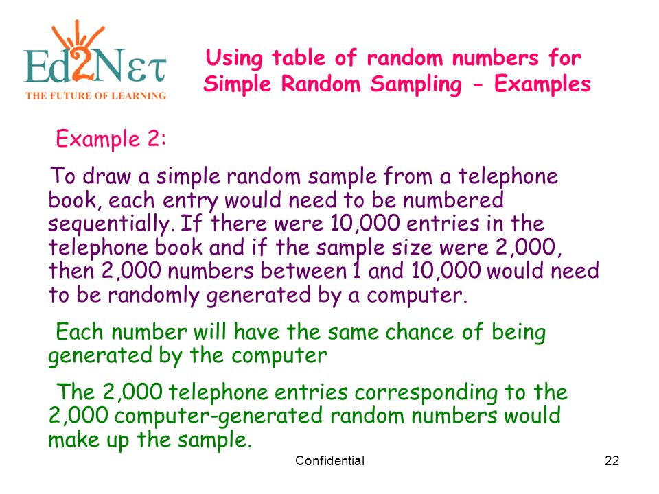 random and nonrandom samples Sampling plans zsimple random sample zeach sampling unit has an equal probability of being sampled with each selection zcan perform simple random sampling if: zenumerate every unit of the population.