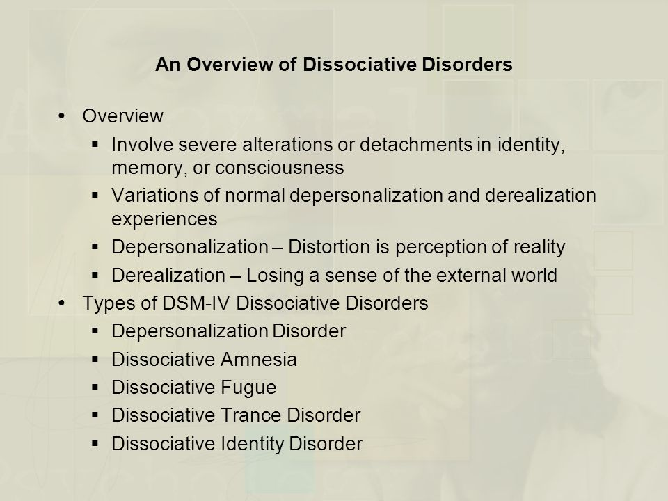 anxiety somatoform and dissociative disorders outline The anxiety disorders, along with dissociative disorders and somatoform disorders (see chapter 7), were classified as neuroses throughout most of the 19th century the.