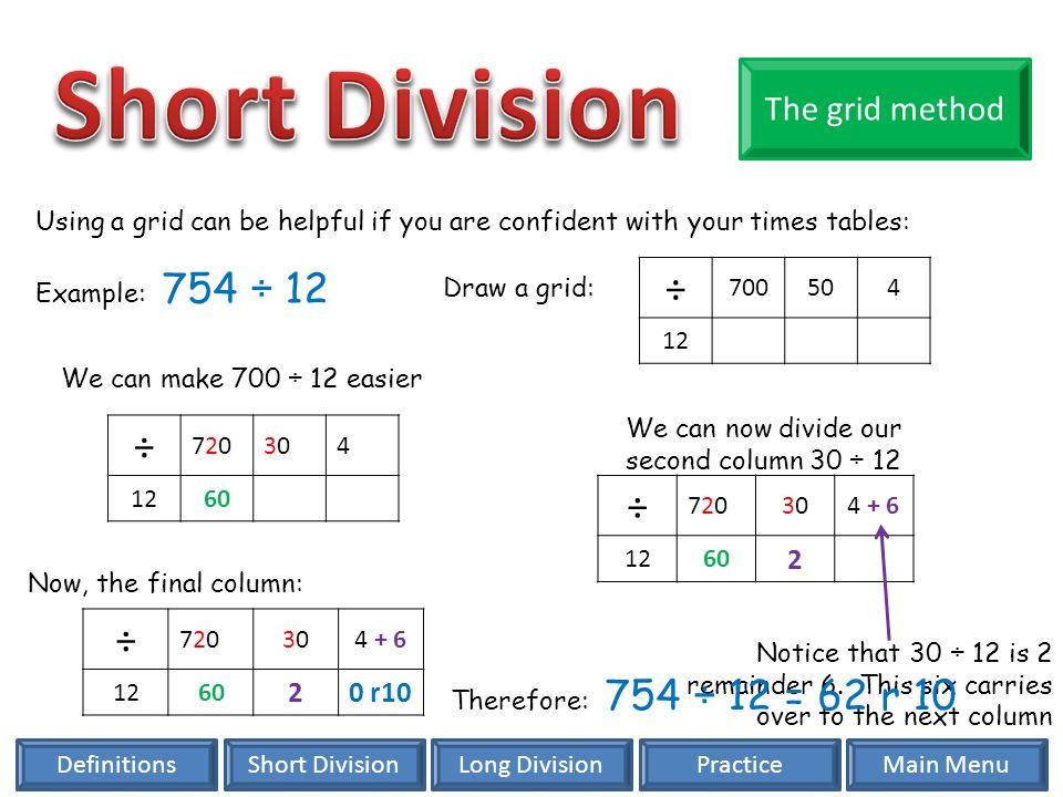 Division Short Division Long Division Key Vocabulary