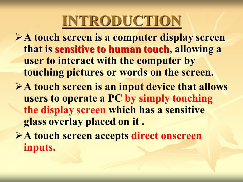 Seminar On Touch Screen Technology Pdf
