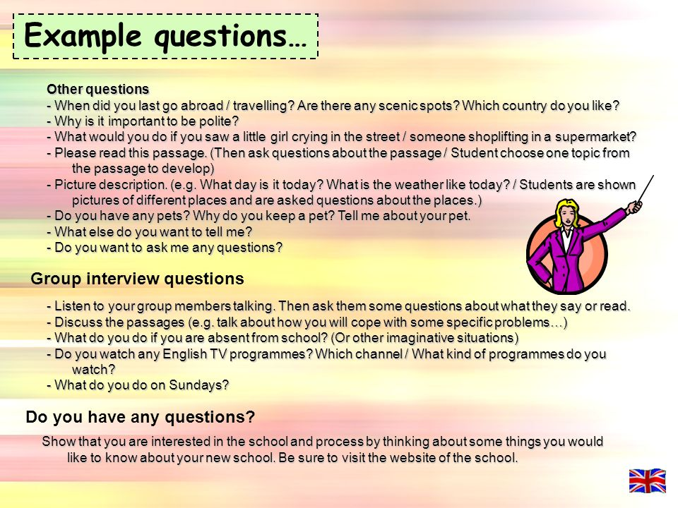 example questions group interview questions