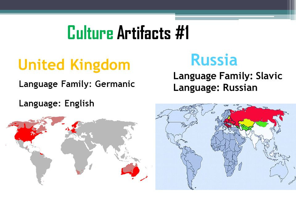 Culture Artifacts #1 Russia United Kingdom Language Family: Slavic