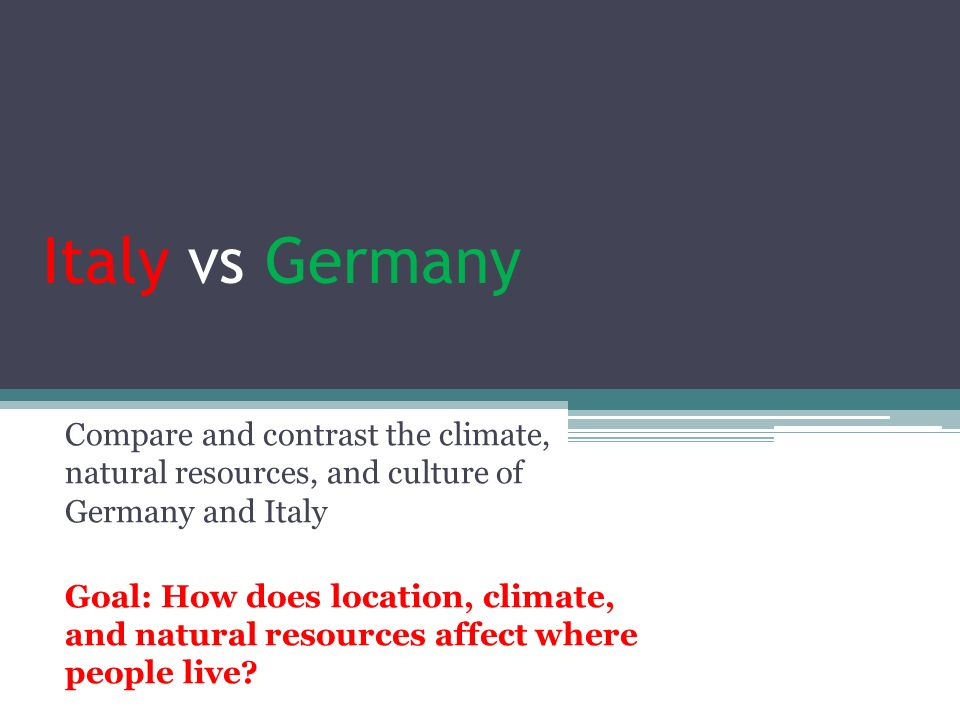 Italy vs Germany Compare and contrast the climate, natural resources, and culture of Germany and Italy.
