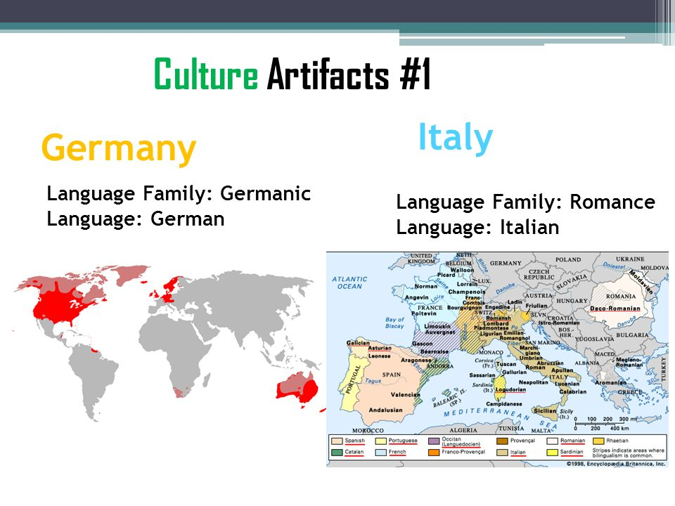 Culture Artifacts #1 Italy Germany Language Family: Germanic