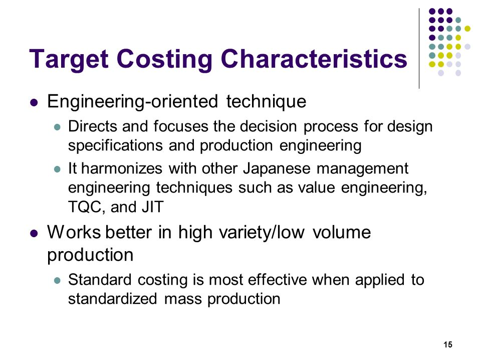 characteristics of standard costing
