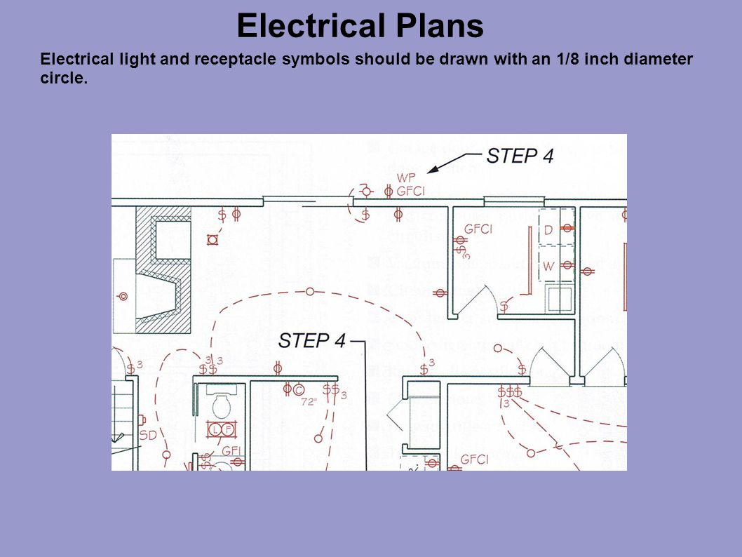 Electrical Plans Ppt Video Online Download Wiring Symbol 17 Light And Receptacle Symbols Should Be Drawn With An 1 8 Inch Diameter Circle
