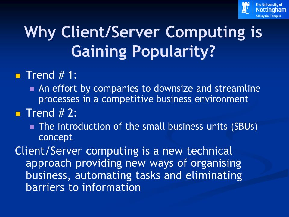 downsizing and client server computing