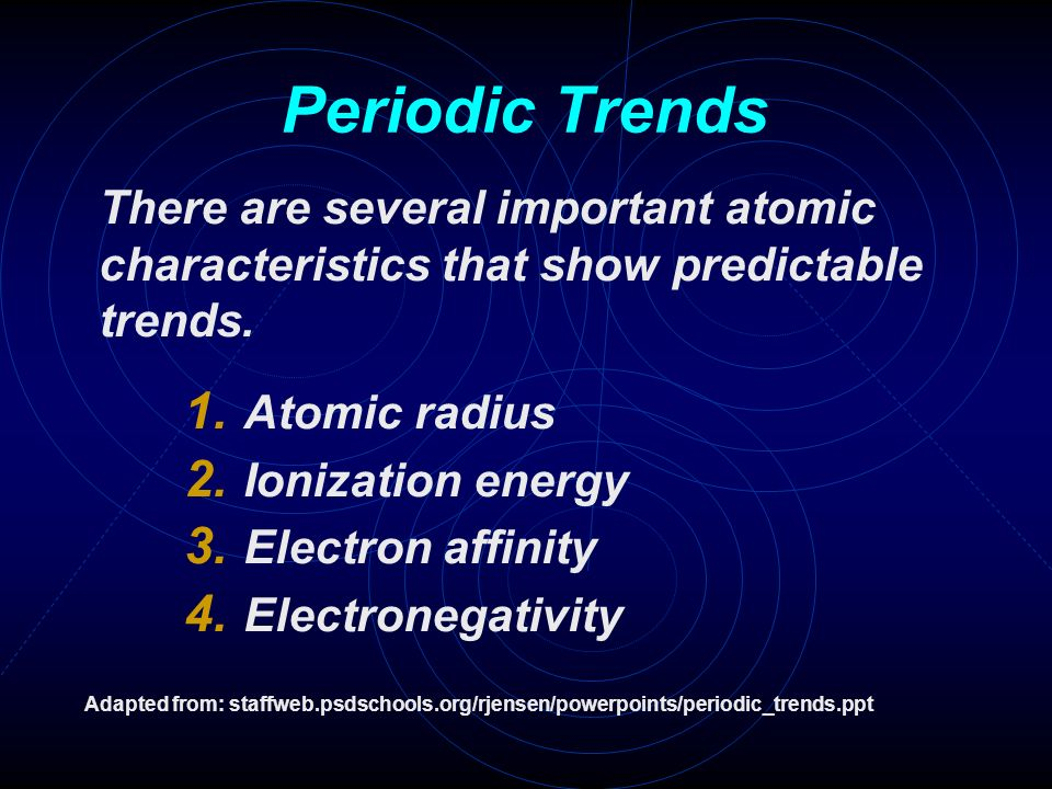 Periodic trends there are several important atomic characteristics 1 periodic trends there are several important atomic characteristics that show predictable trends atomic radius ionization energy urtaz Image collections