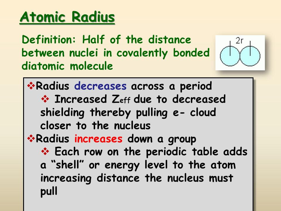 Periodic trends ppt video online download periodic trends 2 atomic radius definition urtaz Image collections