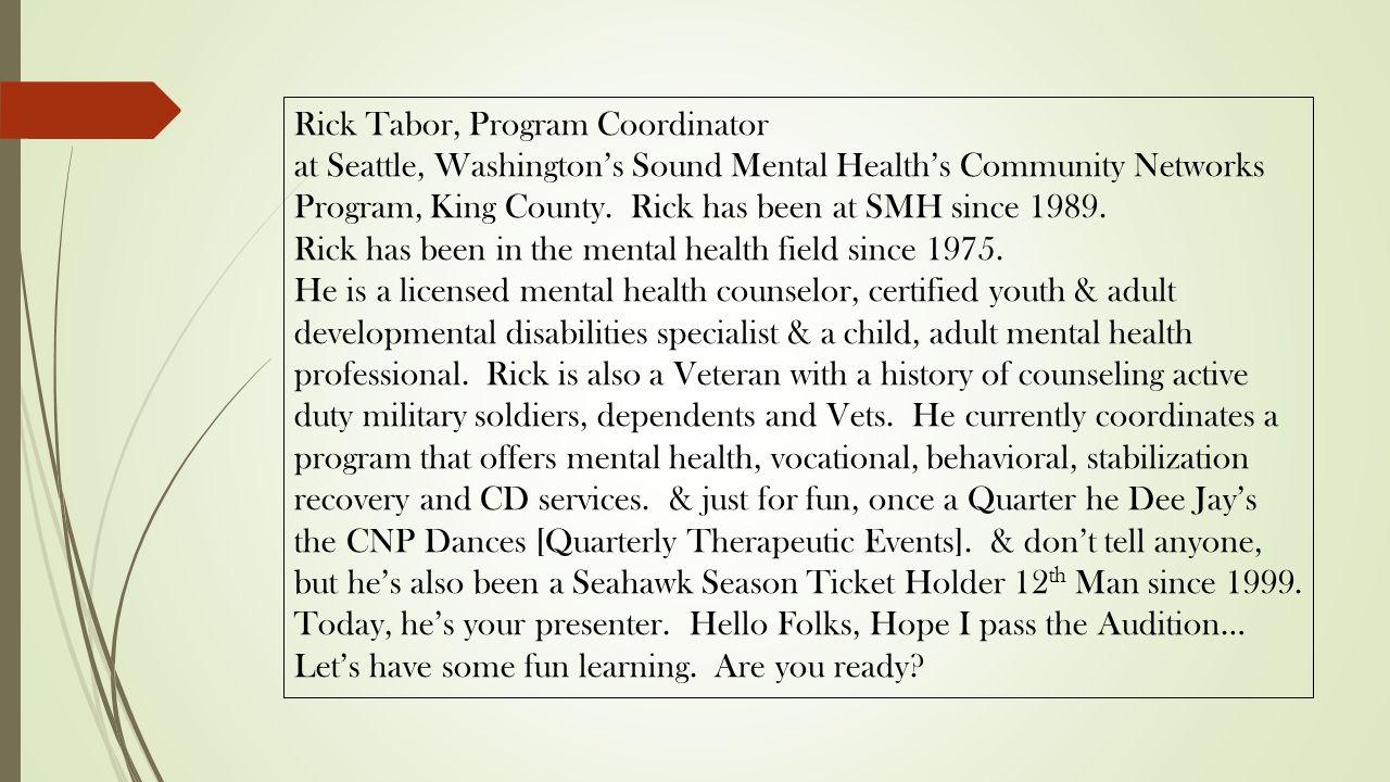 Rick Tabor Program Coordinator Ppt Download