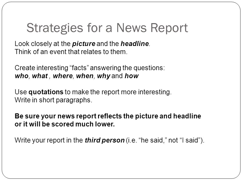 how to write a short news report