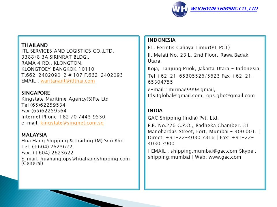 WOOHYUN SHIPPING CO , LTD  - ppt video online download