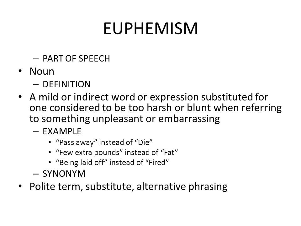 Euphemism examples, definition & worksheets for kids.